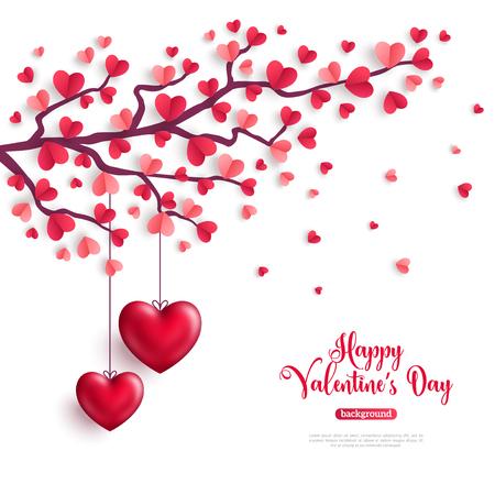 Feliz día de San Valentín concepto. Árbol de San Valentín con hojas de papel en forma de corazón y corazones colgantes. Ilustración vectorial Ilustración de vector