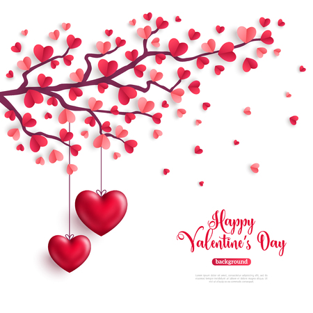 Happy Saint Valentines Day concept. Valentine tree with paper heart shaped leaves and hanging hearts. Vector illustration.