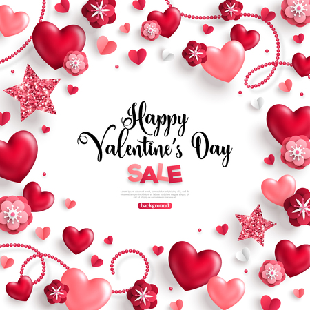 Happy saint valentines day sale, holiday objects on white background. Vector illustration. Glittering hearts, stars, pearl beads and flowers. Flyer, card, menu, cover, banner, voucher design template.
