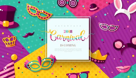 Carte de fête foraine Carnaval avec cadre carré, accessoires de photomaton et masques sur fond géométrique moderne coloré. Illustration vectorielle Place pour votre texte.