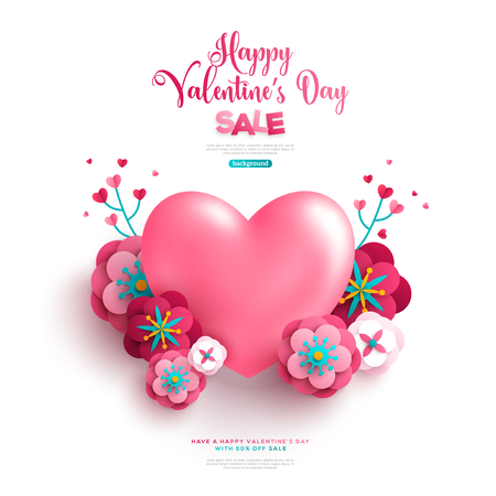 Pink 3D heart on white backdrop with paper cut flowers and branches. Vector Illustration.