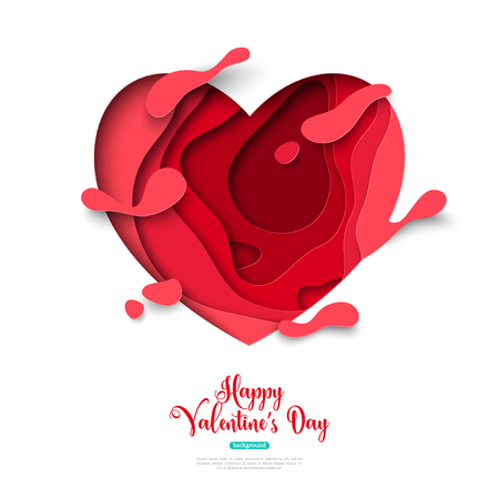 Paper cut heart with splatter drops and abstract shapes on white background. Vector illustration. Saint Valentines day concept.