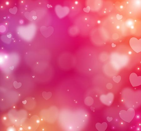 ハッピーバレンタインデーは抽象的な背景をぼかします。ベクトルイラストレーション。光と輝き輝く素敵な背景