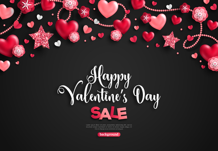 Happy saint valentines day sale, holiday objects on black. Vector illustration. Glittering hearts, stars and flowers. Flyer, card, menu, cover, banner, voucher design tepmlate, horizontal border.