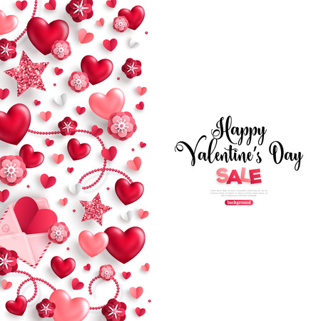 Happy saint valentines day sale, vertical border, holiday objects on white background. Illustration