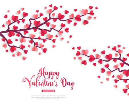 Happy Saint Valentines Day concept. Valentine trees branch with paper heart shaped leaves. Vector illustration. Vettoriali