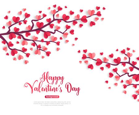 Glückliches Heilig-Valentinstagkonzept. Valentinsgrußbaumniederlassung mit geformten Blättern des Papierherzens. Vektor-illustration