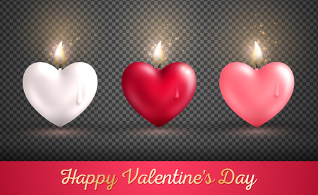 Valentines day concept, heart shape candles set on transparent background. Vector illustration. Beloved symbol. Burning Flame Overlay Effect. White, red and pink hearts