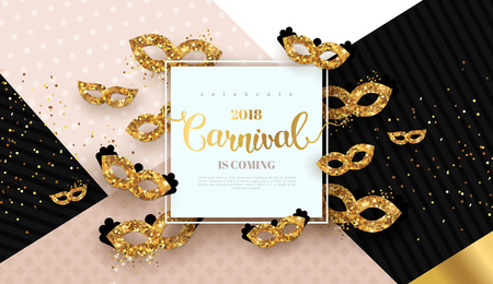 Carnaval card with golden masks