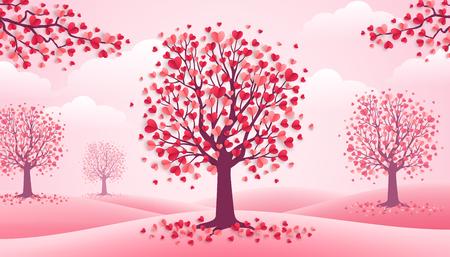 Happy Valentine's Day bomen met hart vorm bladeren, roze landschap met wolken en heuvels. Vector illustratie Vakantie ontwerp voor wenskaart, concept, cadeaubon, uitnodiging. Hou van groei