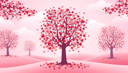 Happy Valentine's Day trees with heart shape leaves, pink landscape with clouds and hills. Vector illustration. Holiday design for greeting card, concept, gift voucher, invitation. Love growth