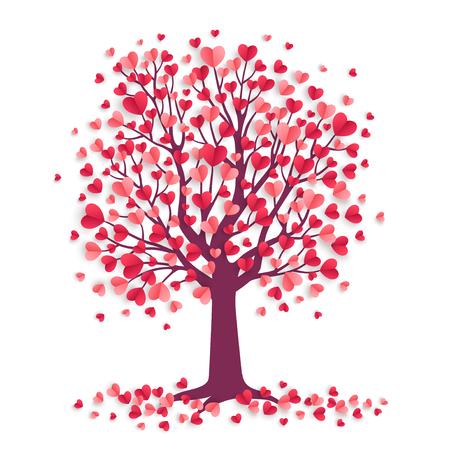 Árvore dos namorados com corações