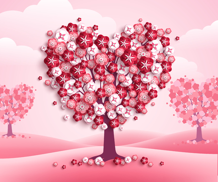 Happy Valentines Day heart shape trees with flowers, pink landscape with clouds and hills. Vector illustration. Holiday design for greeting card, concept, gift voucher, invitation. Love growth