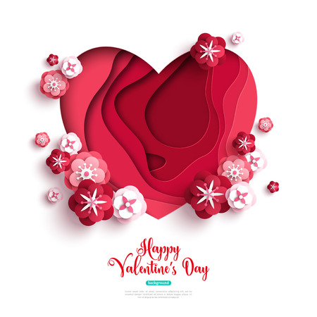 Paper cut heart with rose flowers and abstract shapes on white background. Vector illustration. Saint Valentines day concept.