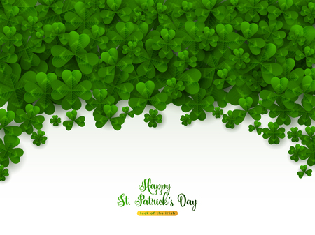 Saint Patricks Day Border with Green Four and Tree Leaf Clovers on White Background. Vector illustration. Party Invitation Design, Typographic Template. Lucky and success symbols Иллюстрация