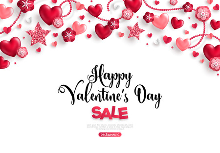 valentines day sale horizontal border on white Imagens - 94309150