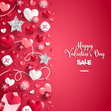 Valentines day vertical border on red Illustration