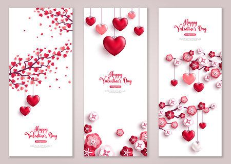 Valentines vertical banners, tree with hearts. Çizim