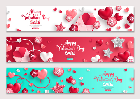 Valentines day horizontal banners, hearts and flowers