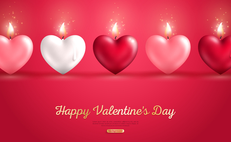 Valentines day concept, heart shape candles set on red background. Vector illustration. Beloved symbol. Burning Flame. White, red and pink hearts in a row