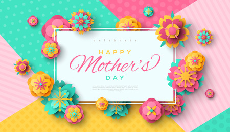 Mother's day card with square frame. Banque d'images - 95014893