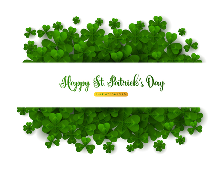 Saint Patricks Day Greeting Card, Border with Green Four and Tree Leaf Clovers on White Background.