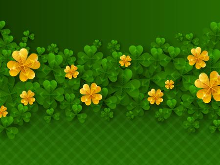 St. Patricks day border with golden clover. Illustration