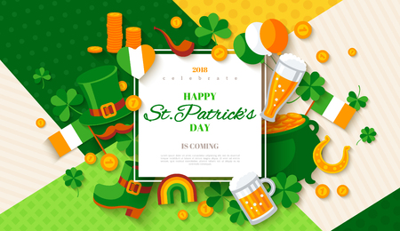 St. Patricks day card with frame and flat icons.