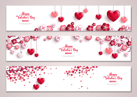 Valentines day horizontal banners, tree with hearts.