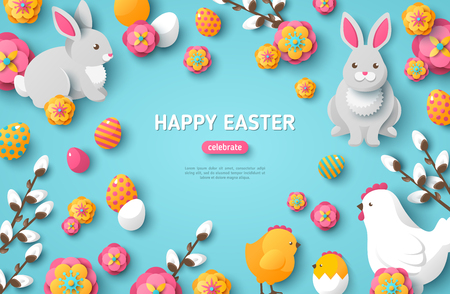 Happy Easter Blue Background