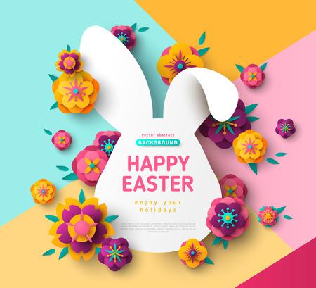 Paaskaart met konijn frame Vector Illustratie