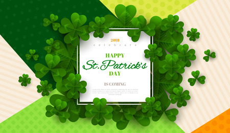 Patricks Day card with square frame. Illustration