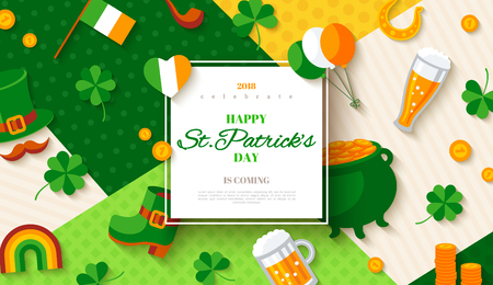 Patricks Day card with flat icons. Stock Vector - 95859392