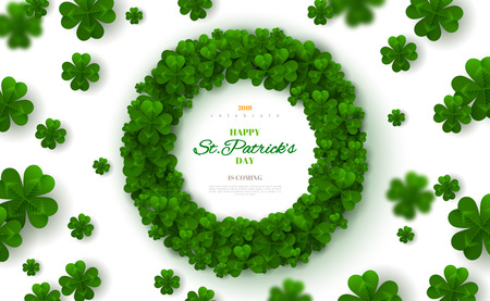 Saint Patricks day round frame with green four and tree leaf clovers on bright background vector illustration. Party invitation design, typographic template, lucky and success symbols.