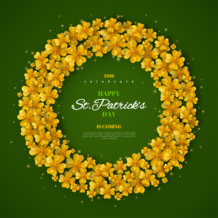 Happy Saint Patricks day greeting poster with golden glitter clover leaves in circle frame vector illustration with place for text. Illustration