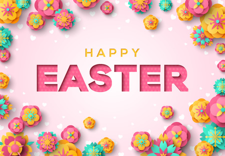 Easter card with paper cut typography and colorful flowers on pink background. Vector illustration. Illustration