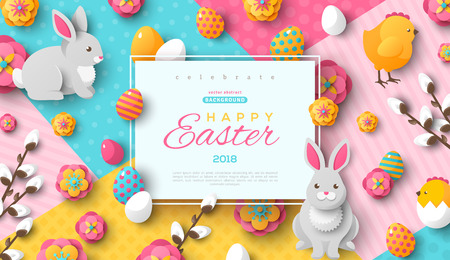 Easter card with square frame, rabbits, painted eggs and colorful flowers. Vector illustration. Illustration