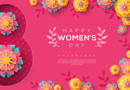 International Womens day pink banner with colorful flowers, leaves on pink background. Vector illustration.