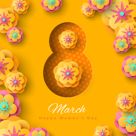 International Women's day banner with abstract 8 and march happy women's day typography, flowers on yellow background. Vector illustration.