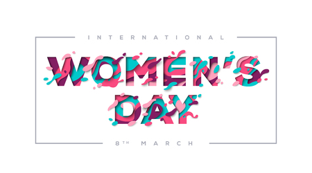 Womens day typography with frame Illustration
