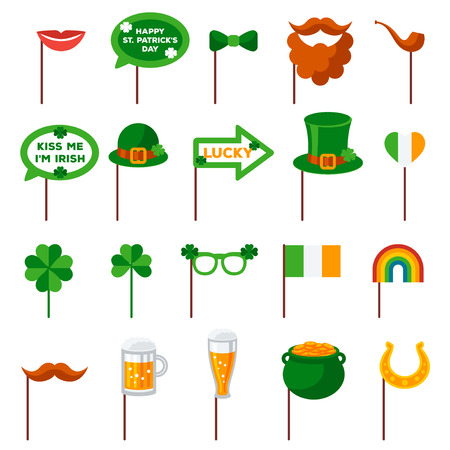 Saint Patricks day Photo Booth Elements vector illustration set