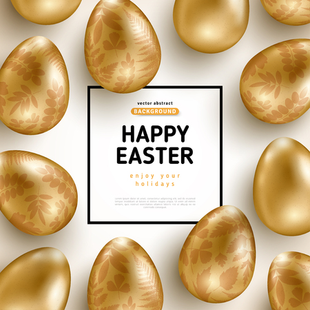 Easter card with frame and gold ornate eggs Stock fotó - 97066327