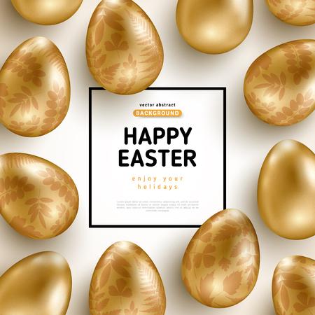 Kartka Wielkanocna z ramą i złotymi ozdobnymi jajkami
