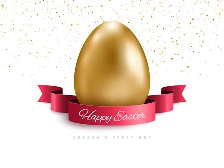 Ribbon, confetti and golden egg Vettoriali