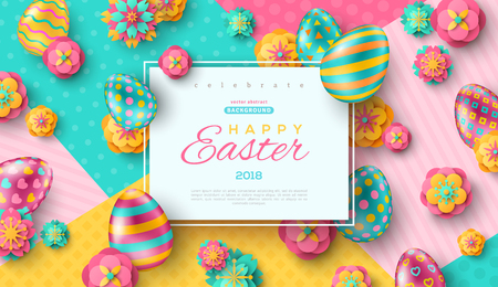 Easter card with square frame, paper cut flowers and colorful ornate eggs on modern geometric background. Vector illustration. Place for your text.