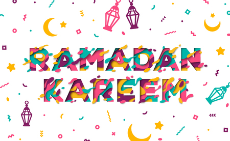 Ramadan Kareem typographic concept flyer with lanterns, moon and confetti. Vector Illustration. Typography design with abstract paper cut shapes on white background. Colorful 3D carving art.