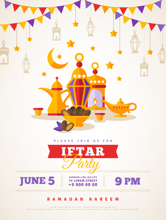 Iftar party celebration concept flyer. Vector Illustration. Sweet Dates, Fanous Lantern and Arabic coffee mug. Islamic Holy Month, Ramadan Kareem. Typography template for text
