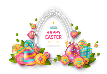 Easter card with egg shape frame, colorful ornate eggs and paper cut flowers on white background. Vector illustration. Place for your text.