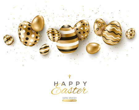 Easter horizontal border with gold ornate eggs and confetti on white background. Vector illustration. Place for your text. Vettoriali