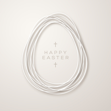 Easter card with simple ribbon egg shape frame on light background. Vector illustration. Typography template for your text with crosses.